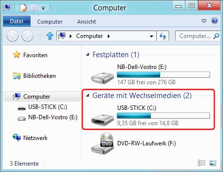 USB-Stick als Wechseldatenträger