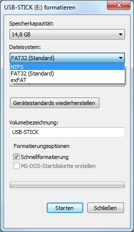 USB-Stick mit NTFS formatieren