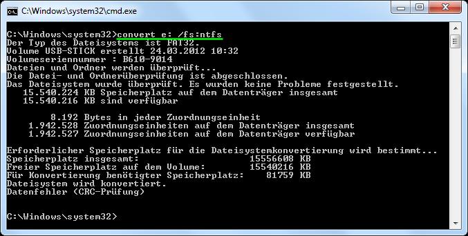USB-Stick nach NTFS konvertieren